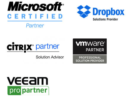 Certifié Microsoft, Dropbox, Citrix, VMWare & Veeam